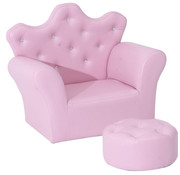 HOMCOM HOMCOM Kindersofa met kristallen knopen en hocker roze