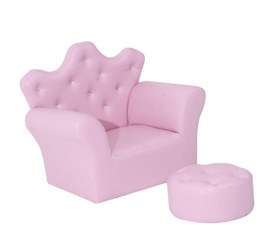 HOMCOM Kindersofa met kristallen knopen en hocker roze