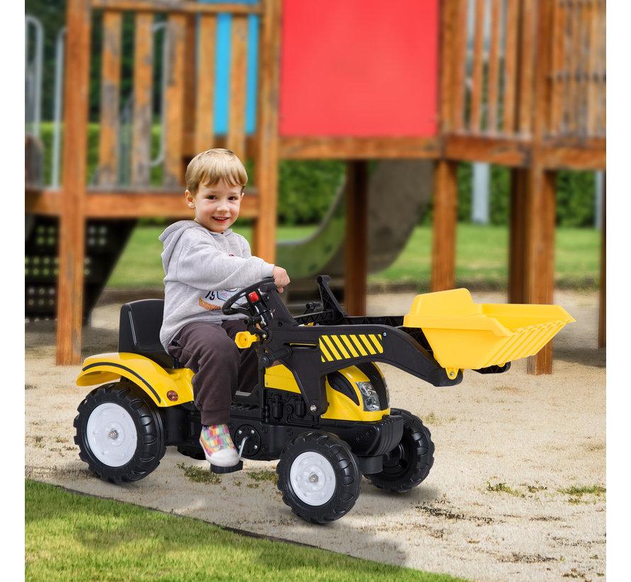 HOMCOM Loopwagen tractor met frontlader zwart/geel
