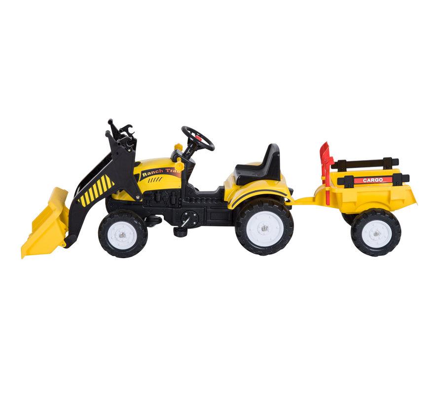 HOMCOM Loopwagen tractor met frontlader en aanhanger zwart/geel
