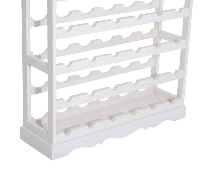 HOMCOM Wijnrek voor 24 flessen hout wit 70 x 22,5 x 70cm
