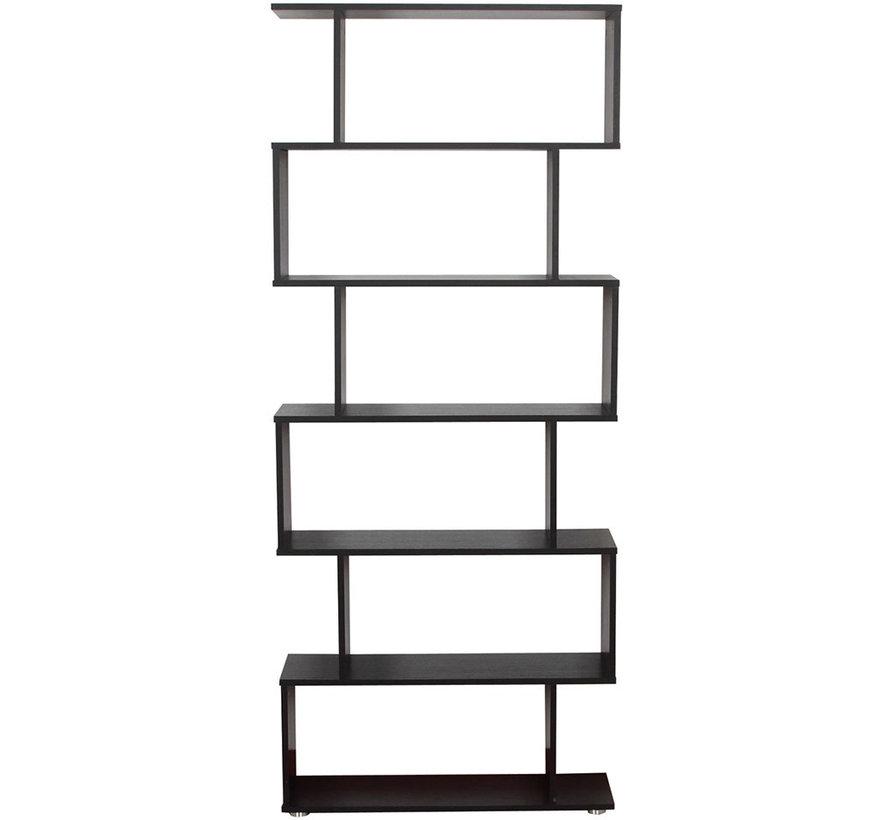 HOMCOM Boekenkast met 6 vakken S-vorm MFC 80 x 24 x 191cm