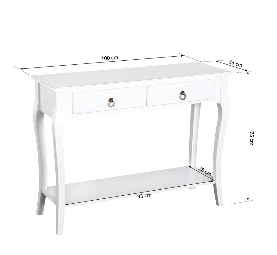 HOMCOM Sideboard dressoir met 2 laden wit 100 x 33 x 76cm