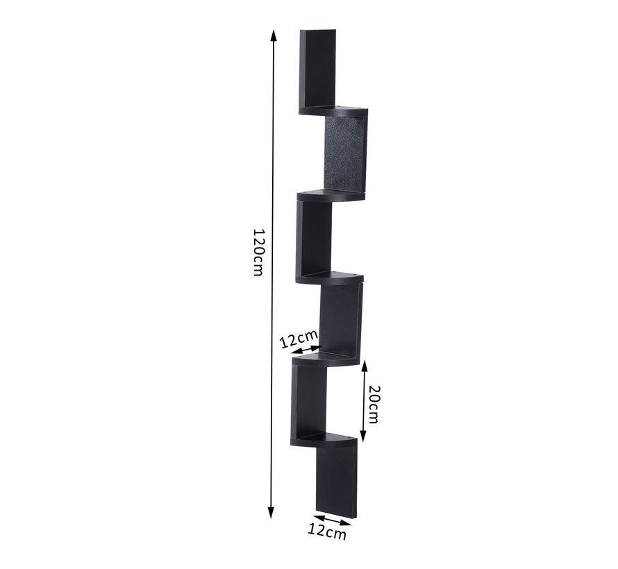 HOMCOM Boekenkast muurkast hoek zwart 12 x 12 x 120cm