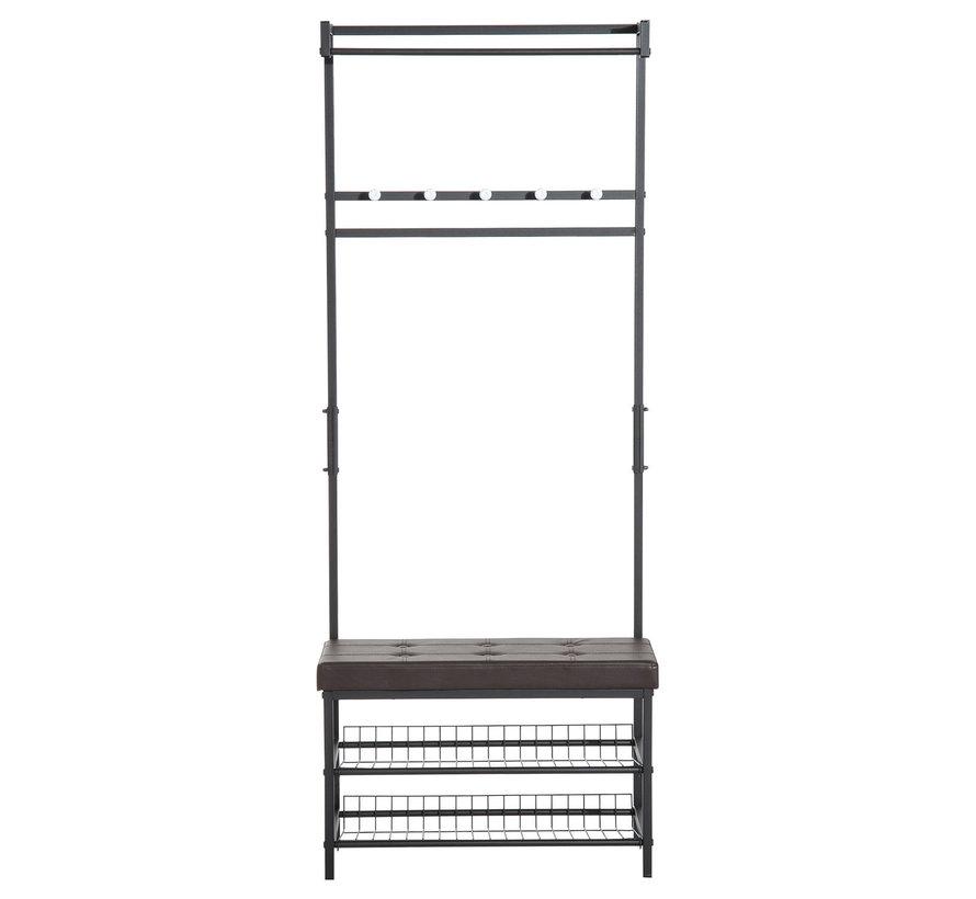 HOMCOM Kledingrek met zitje en 2 legplanken metaal grijs 72,5 x 35 x 180cm