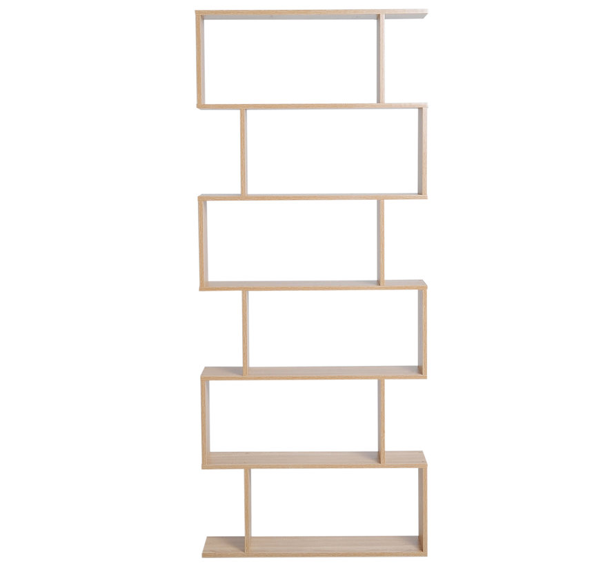 HOMCOM Boekenkast met 6 vakken eiken 80 x 23 x 192cm