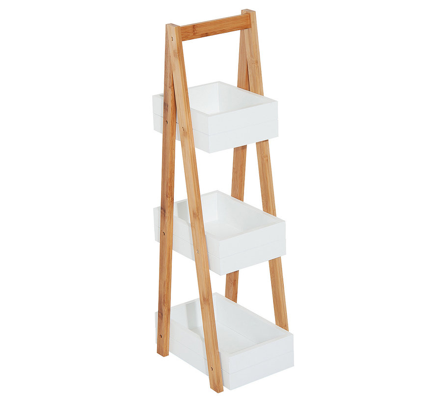 HOMCOM Badkamerrek hout 3 vakken wit 21 x 30 x 81 cm