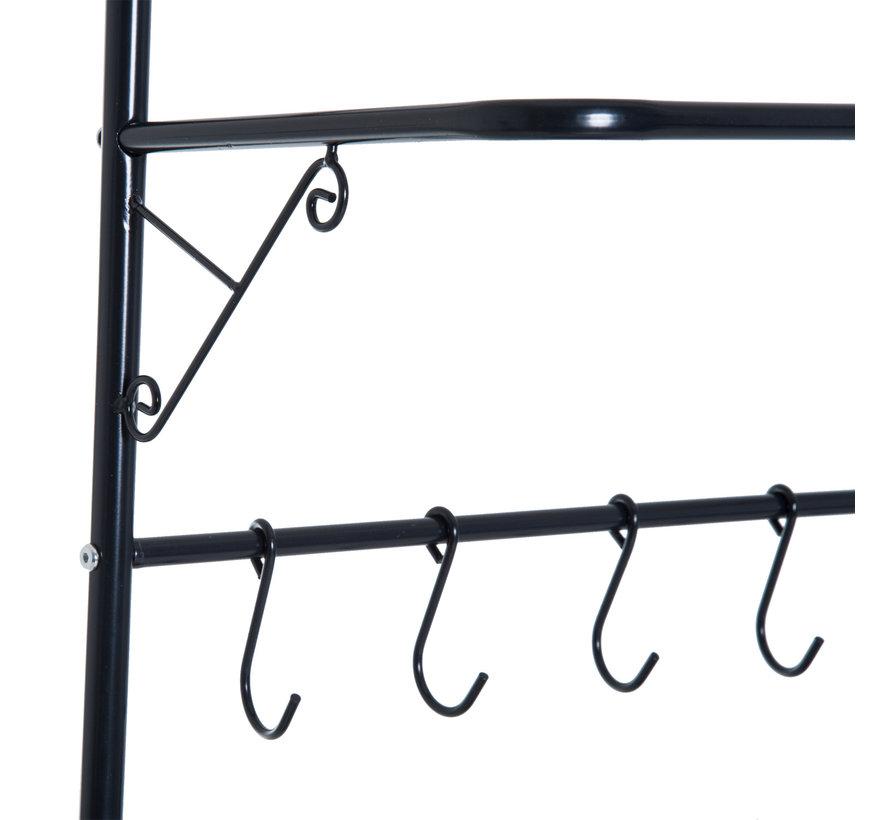 HOMCOM Kapstok kledingrek met 3 legplanken staal zwart 60 x 35 x 175cm