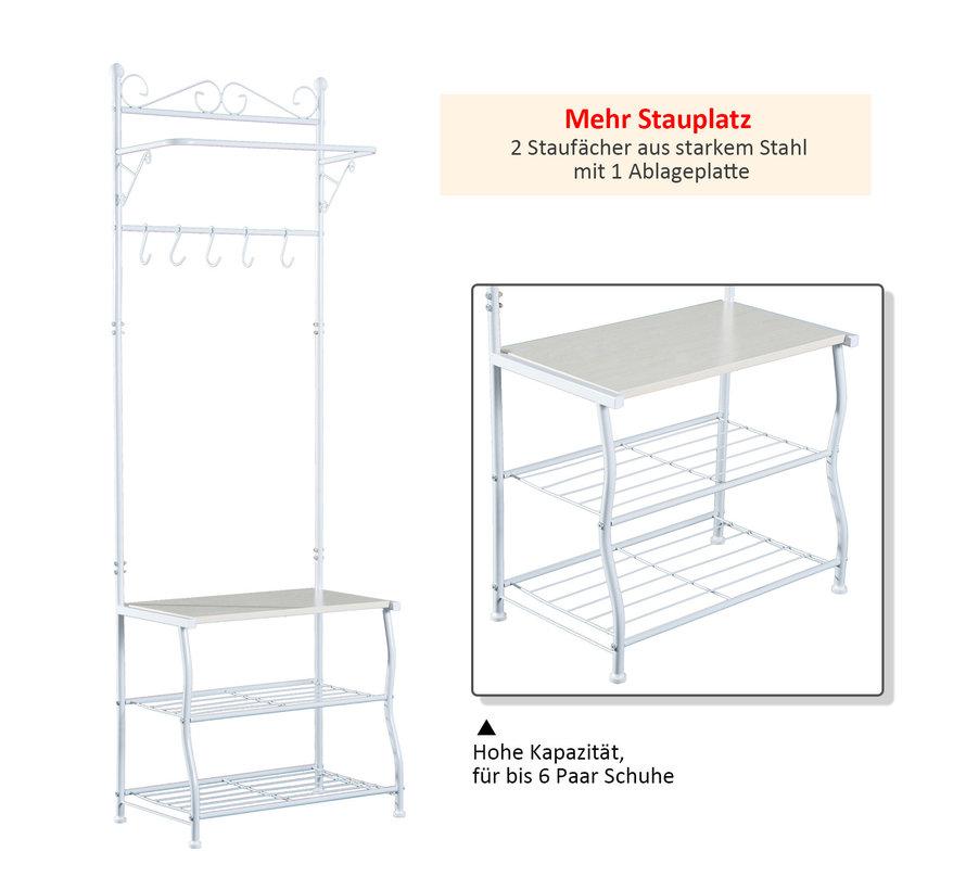 HOMCOM Kapstok kledingrek met 3 legplanken staal wit 60 x 35 x 175cm