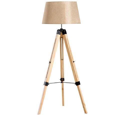 HOMCOM HOMCOM Staande vloerlamp met 3 poten hout beige 65 x 65 x 99-143cm