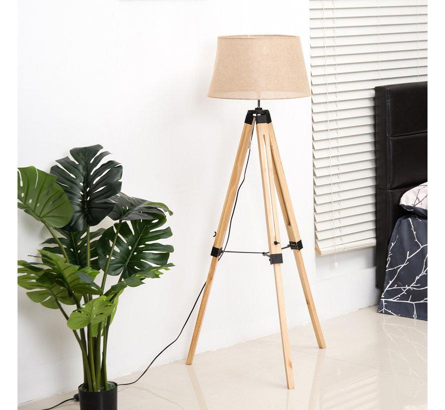 HOMCOM Staande vloerlamp met 3 poten hout beige 65 x 65 x 99-143cm