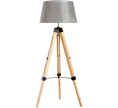 HOMCOM HOMCOM Staande vloerlamp met 3 poten hout grijs 65 x 65 x 99-143cm