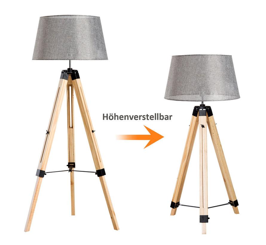 HOMCOM Staande vloerlamp met 3 poten hout grijs 65 x 65 x 99-143cm