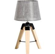 HOMCOM HOMCOM Tafellamp met 3 poten hout grijs E27 24 x 24 x 45cm