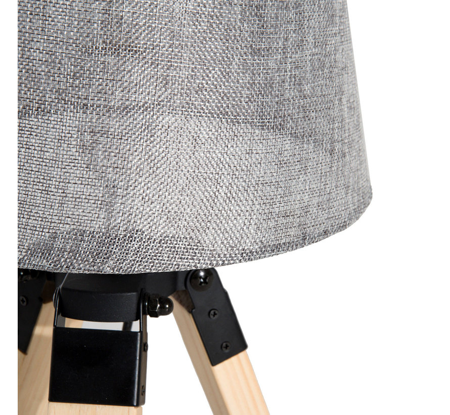 HOMCOM Tafellamp met 3 poten hout grijs E27 24 x 24 x 45cm