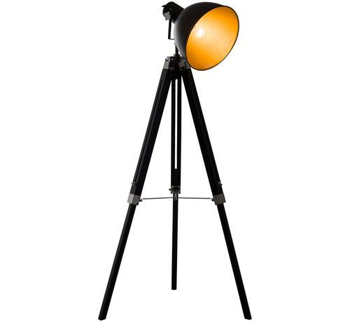 HOMCOM HOMCOM Staande vloerlamp met 3 poten industrieel zwart E27 65 x 65 x 108-152cm