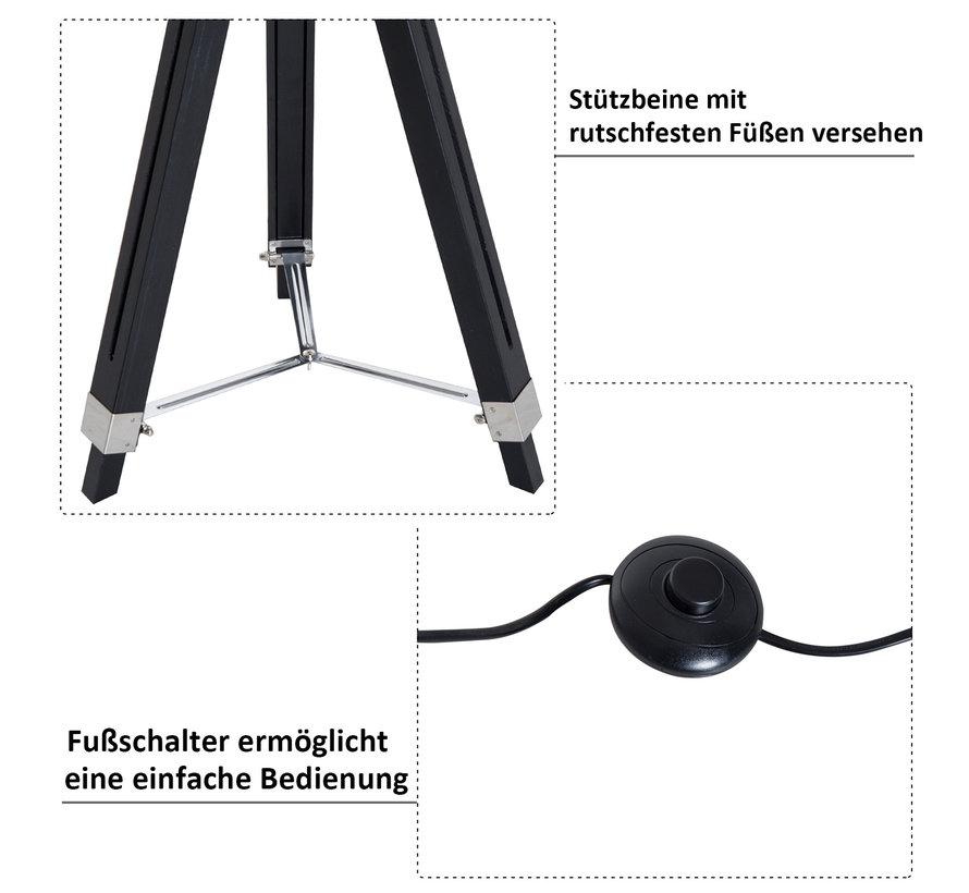 HOMCOM Staande vloerlamp met 3 poten industrieel zwart E27 65 x 65 x 108-152cm