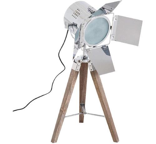 HOMCOM HOMCOM Tafellamp met 3 poten retro hout zilver E14 33 x 33 x 75cm