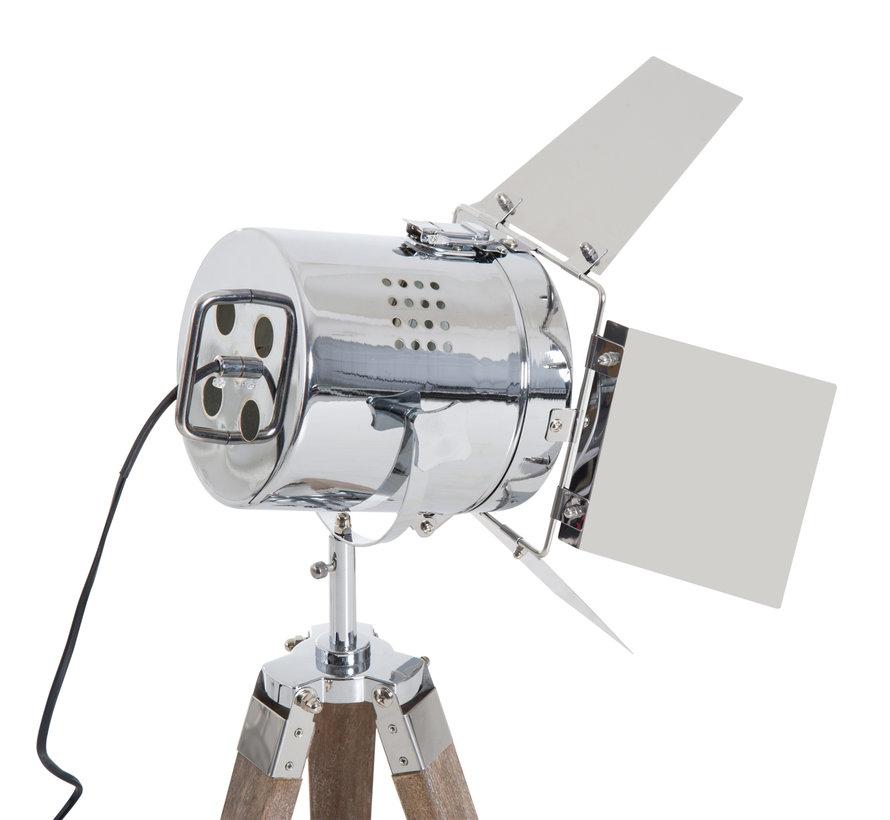 HOMCOM Tafellamp met 3 poten retro hout zilver E14 33 x 33 x 75cm