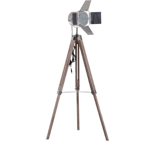 HOMCOM HOMCOM Staande vloerlamp met 3 poten urban hout zilver E14 65 x 65 x 103-146cm