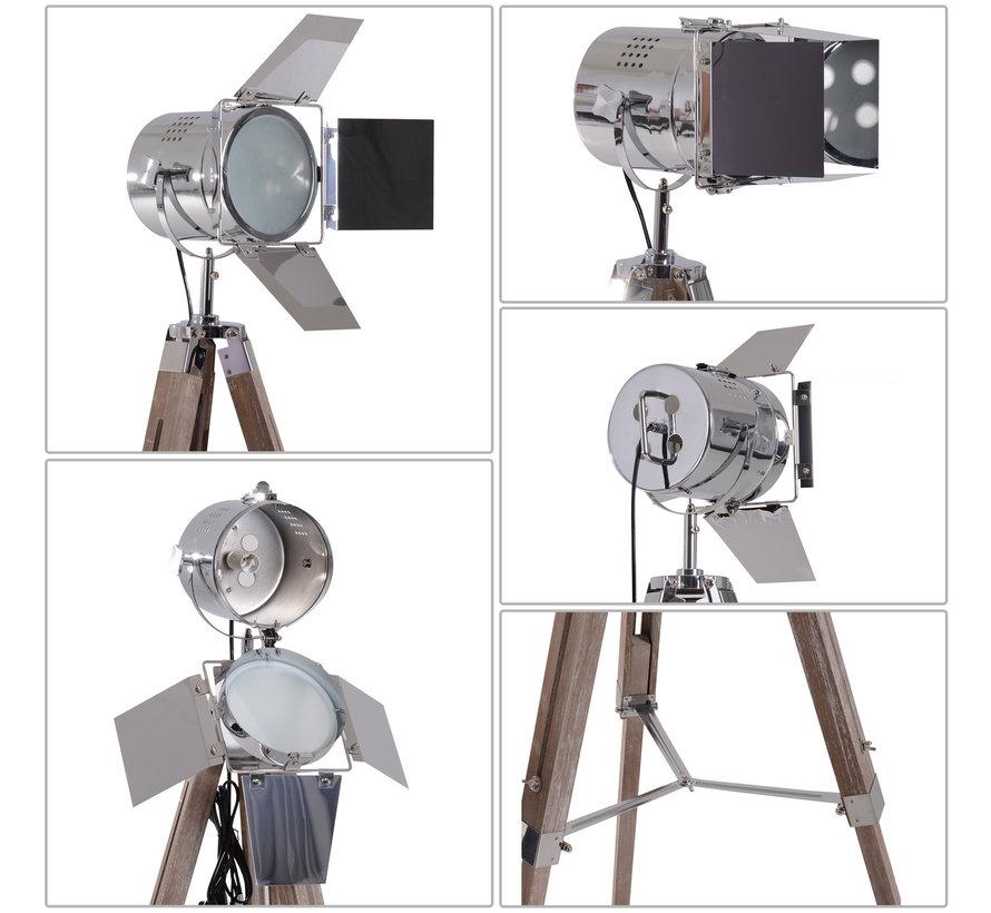 HOMCOM Staande vloerlamp met 3 poten urban hout zilver E14 65 x 65 x 103-146cm