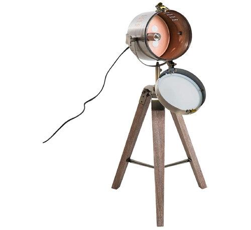 HOMCOM HOMCOM Tafellamp met 3 poten retro hout brons E14 33 x 33 x 65cm