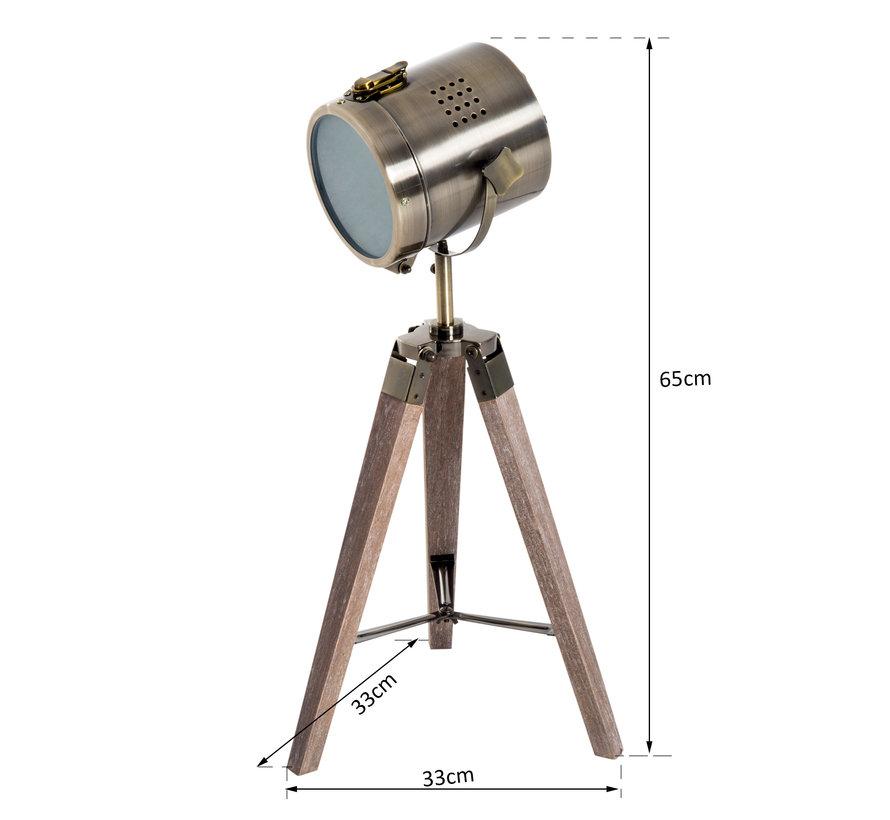 HOMCOM Tafellamp met 3 poten retro hout brons E14 33 x 33 x 65cm