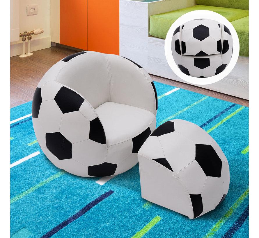 HOMCOM Bank in vorm van een voetbal met poef