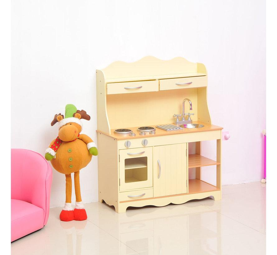 HOMCOM Speelkeuken voor kinderen geel