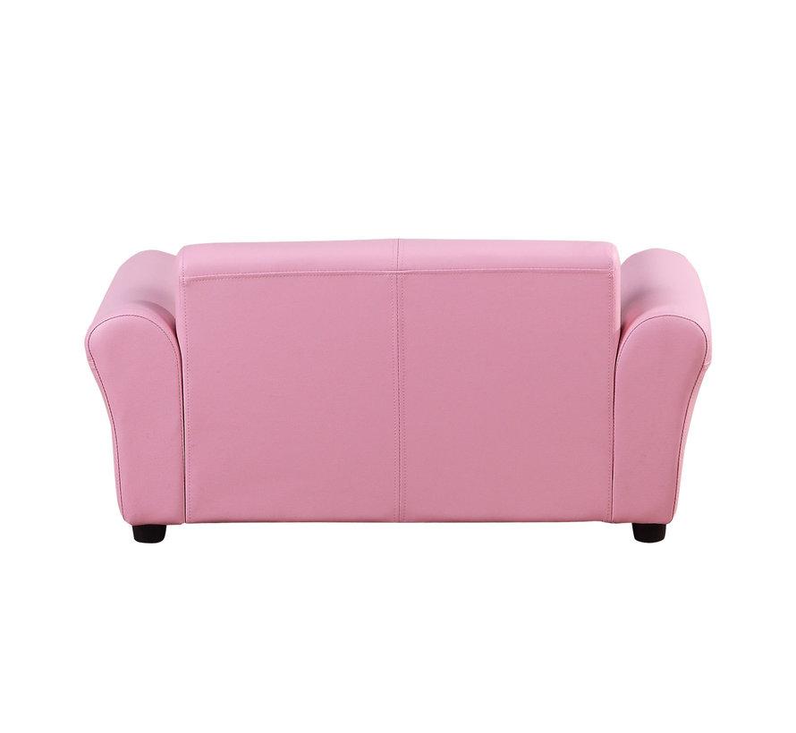 HOMCOM Kinderbank/sofa met voetenbank roze | 3 - 7 jaar | 83 x 42 x 41 cm