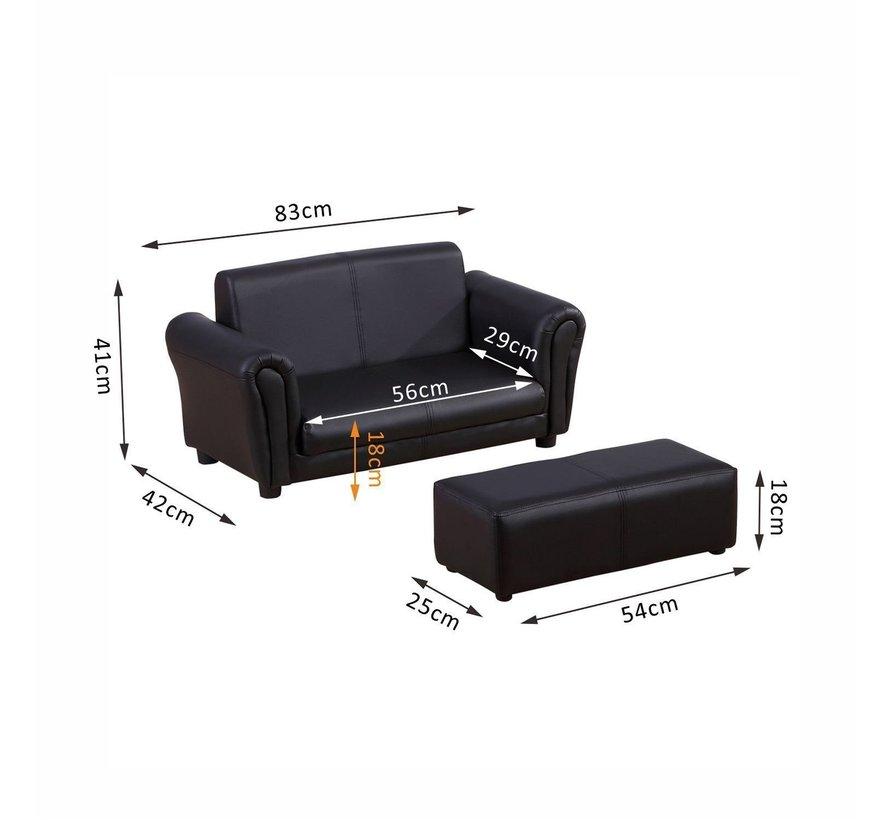 HOMCOM Kinderbank/sofa met voetenbank PVC zwart