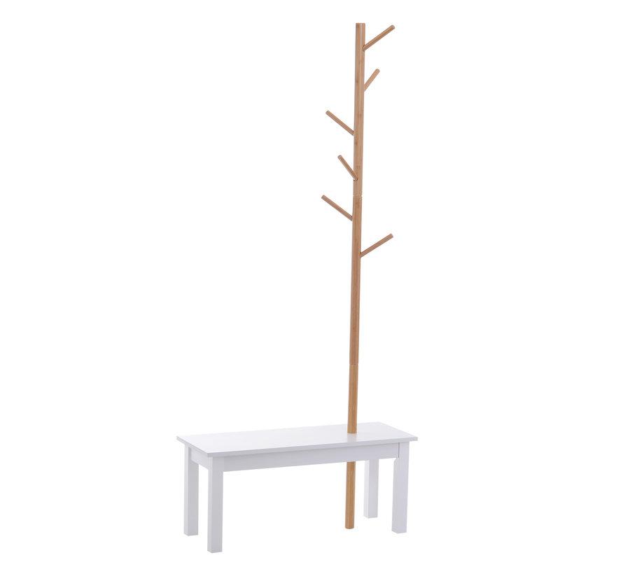 HOMCOM Kapstok met 6 haken en geÏntegreerde bijzettafel 80 x 30 x 180 cm