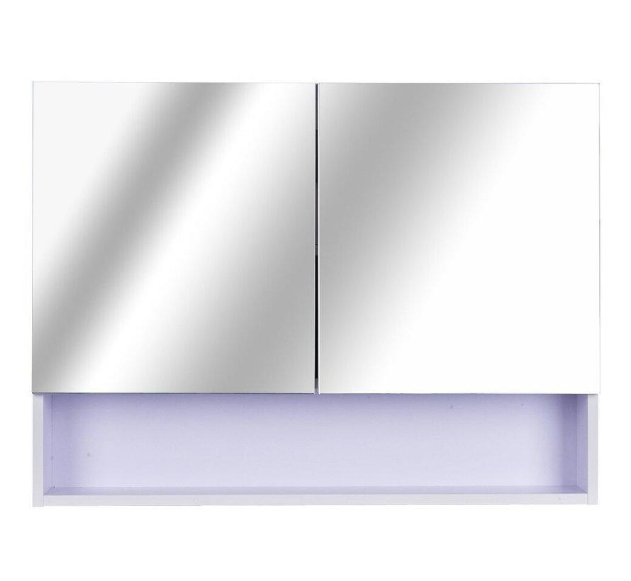 HOMCOM Dubbele spiegelkast met LED verlichting 80 x 60 x 15cm