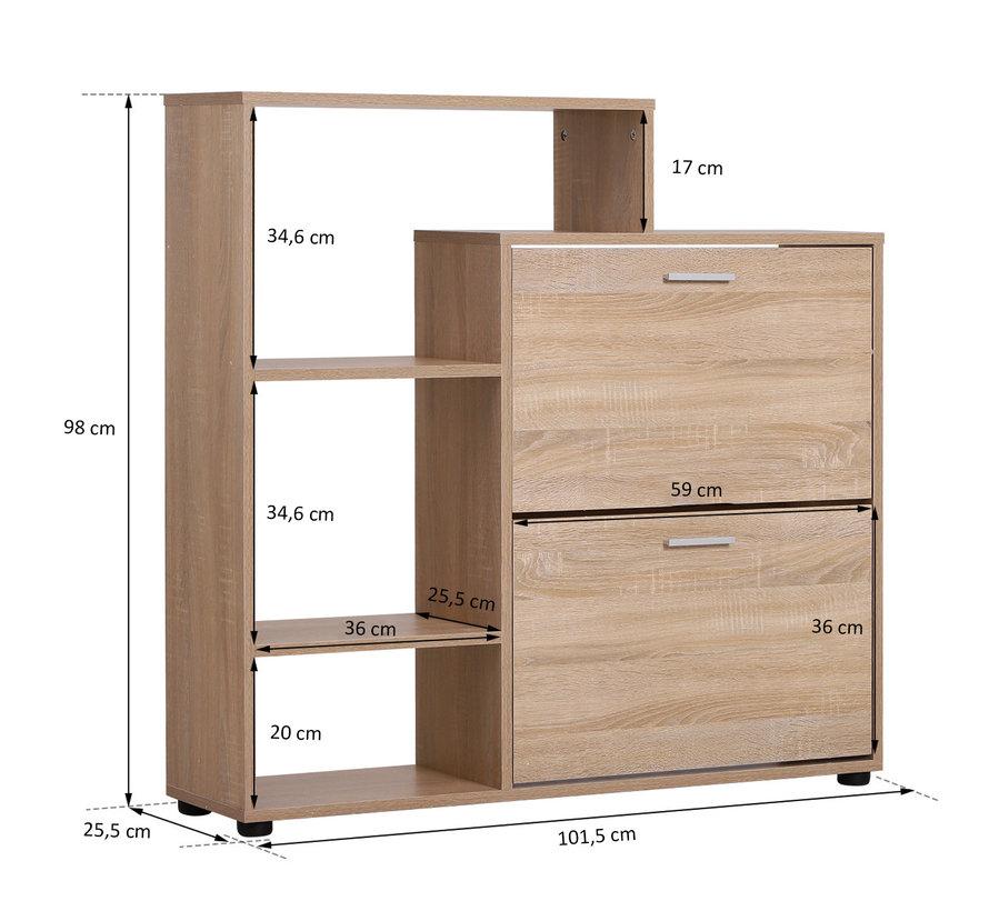 HOMCOM Schoenenkast voor 20 schoenen naturel hout 101,5 x 25,5 x 98cm