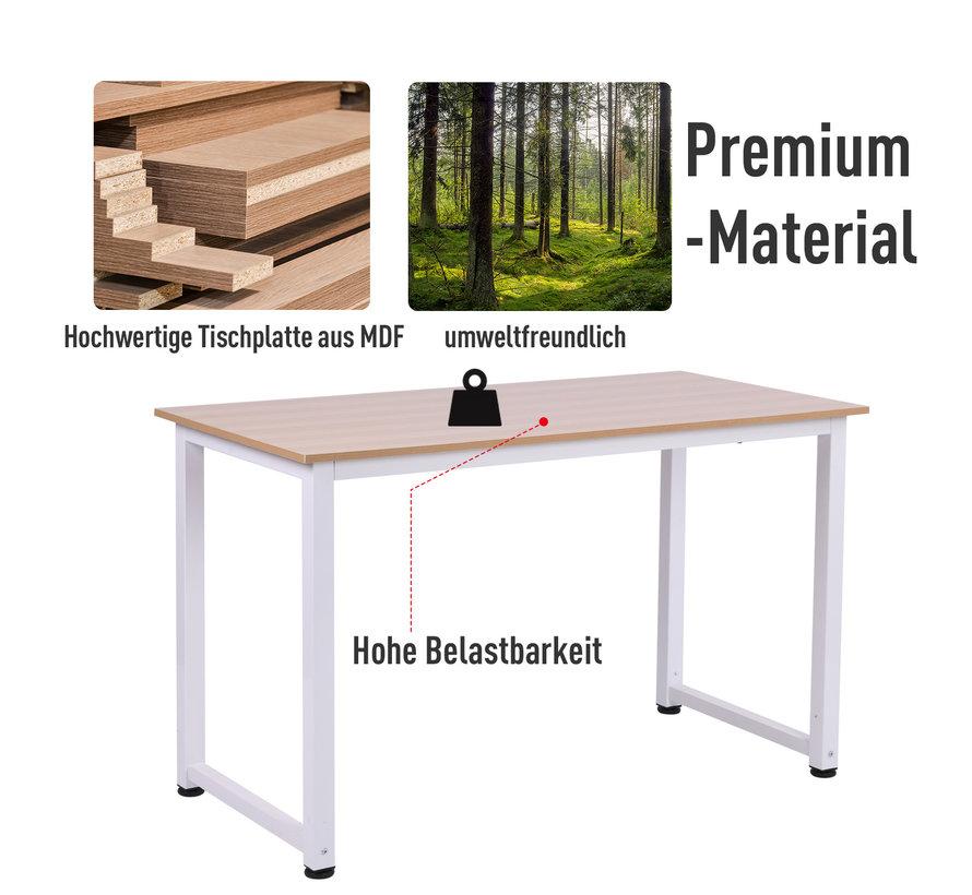 HOMCOM Schrijftafel bureau naturel hout/wit 120 x 60 x 76 cm