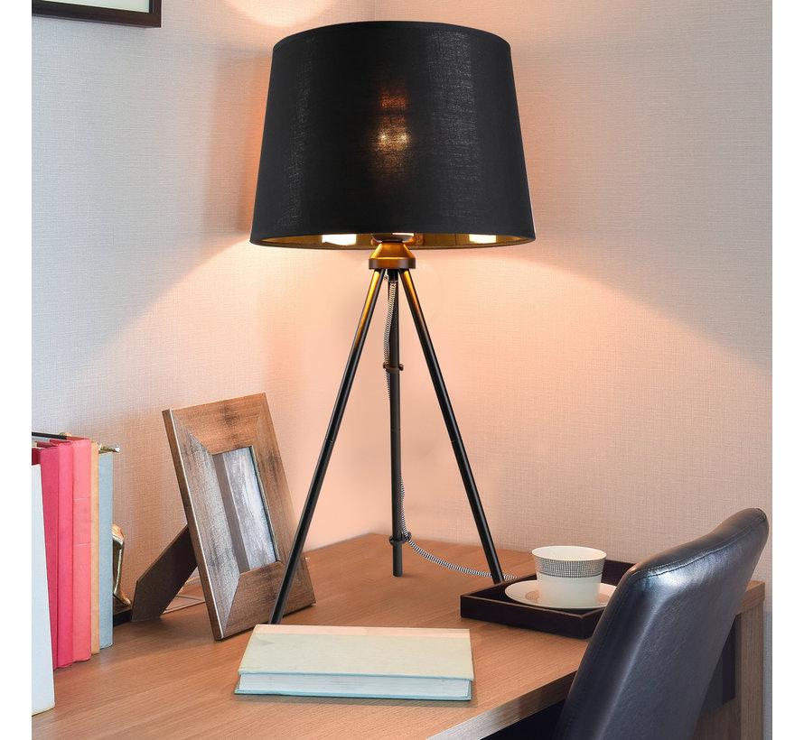 HOMCOM Tafellamp metaal zwart E27 30 x 30 x 60cm