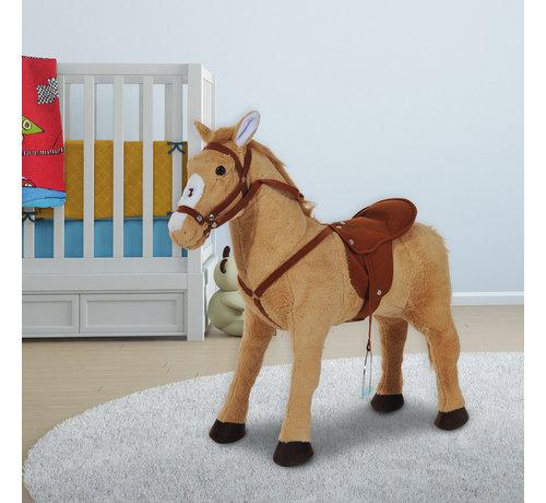HOMCOM HOMCOM Kinderpaard staand Paard zonder schommel beige bruin