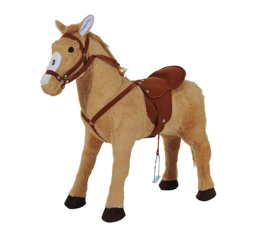 HOMCOM Kinderpaard staand Paard zonder schommel beige bruin