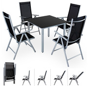 "Casaria Casaria Tuinset Aluminium ""Bern"" 4+1 klapbare hoge rugleuning & zwart glazen blad"