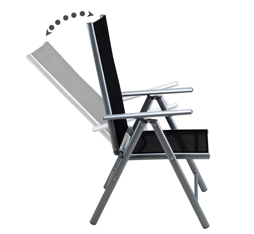 "Casaria Tuinset Aluminium ""Bern"" 4+1 klapbare hoge rugleuning & zwart glazen blad"