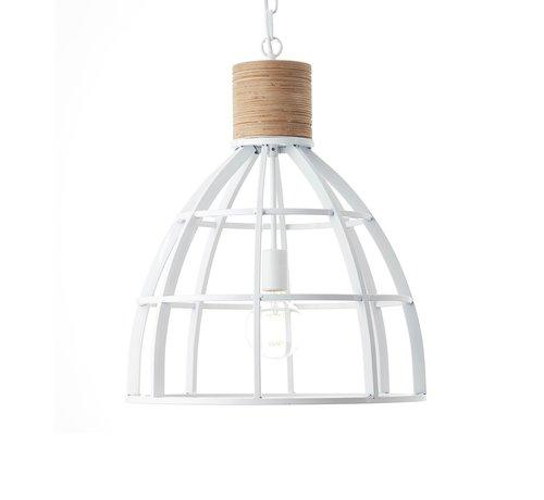Brilliant Brilliant industriële hanglamp Matrix wood ll - wit