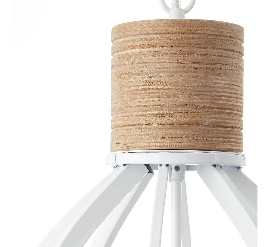 Brilliant industriële hanglamp Matrix wood ll - wit