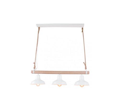 Brilliant Brilliant sfeervolle hanglamp Hank - hout/ wit