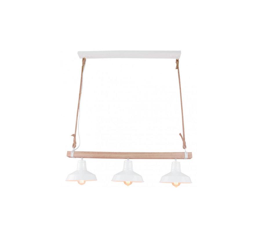 Brilliant sfeervolle hanglamp Hank - hout/ wit