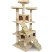 Deuba CatLovers Kattenboom XL 175 cm   Kattenhuis - Krabpaal - Krabpalen voor Katten   5 niveaus   Beige