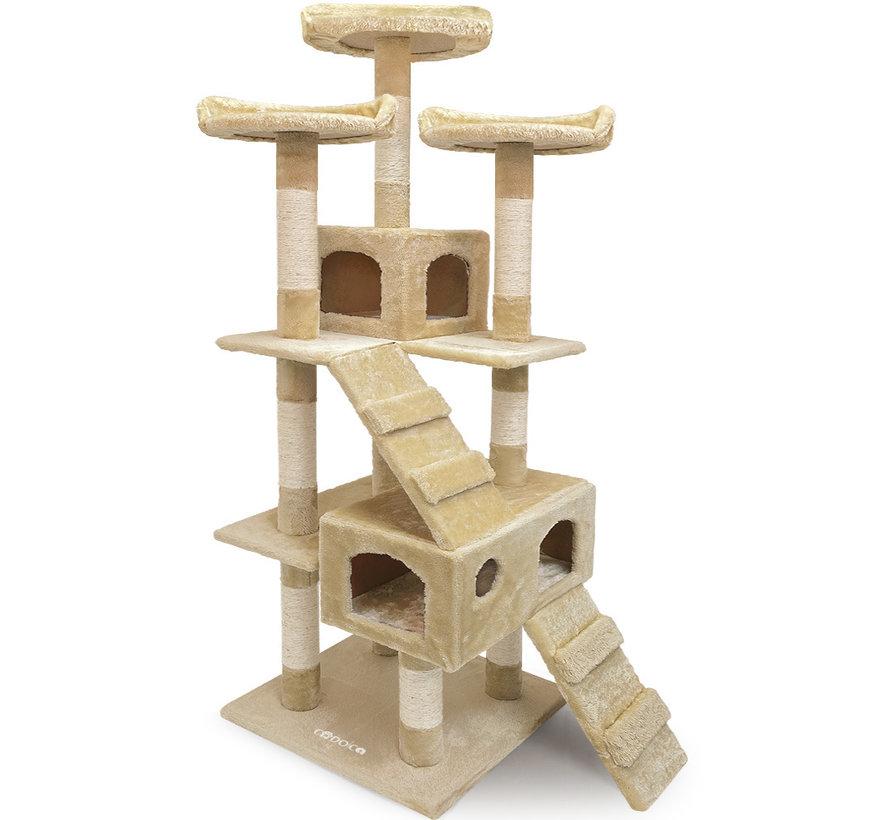 CatLovers Kattenboom XL 175 cm   Kattenhuis - Krabpaal - Krabpalen voor Katten   5 niveaus   Beige
