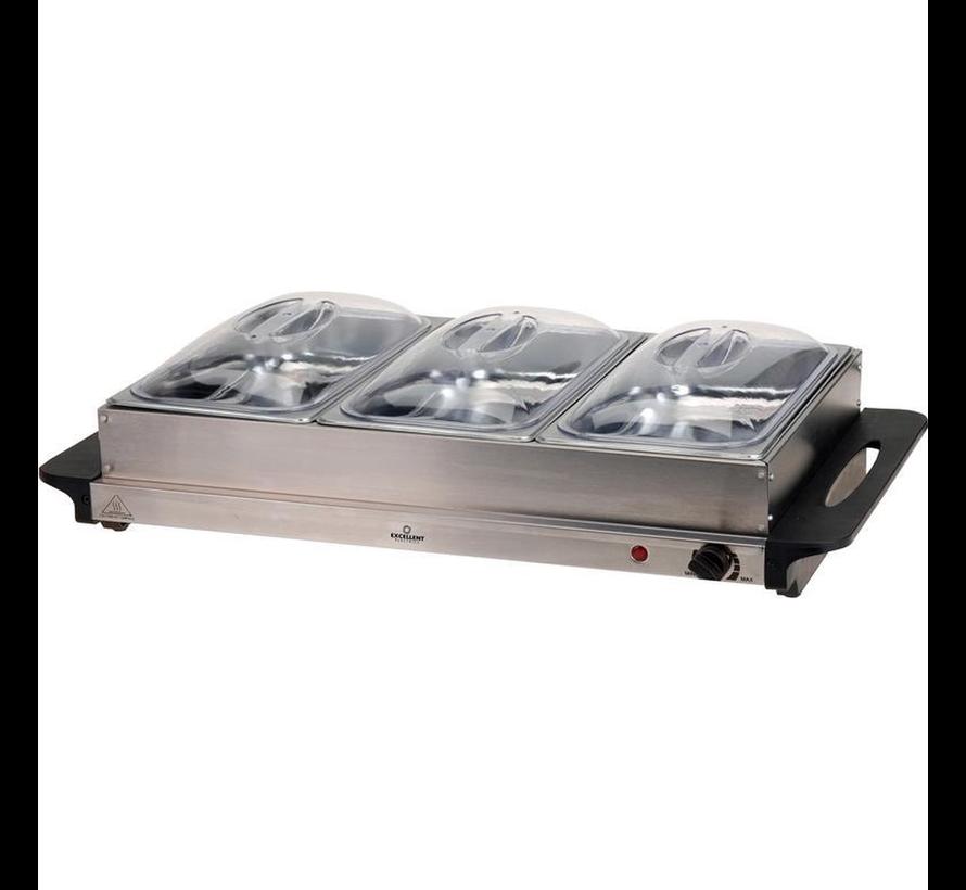 Buffetwarmer warmhoudplaat RVS 300W 53 x 35 x 10cm