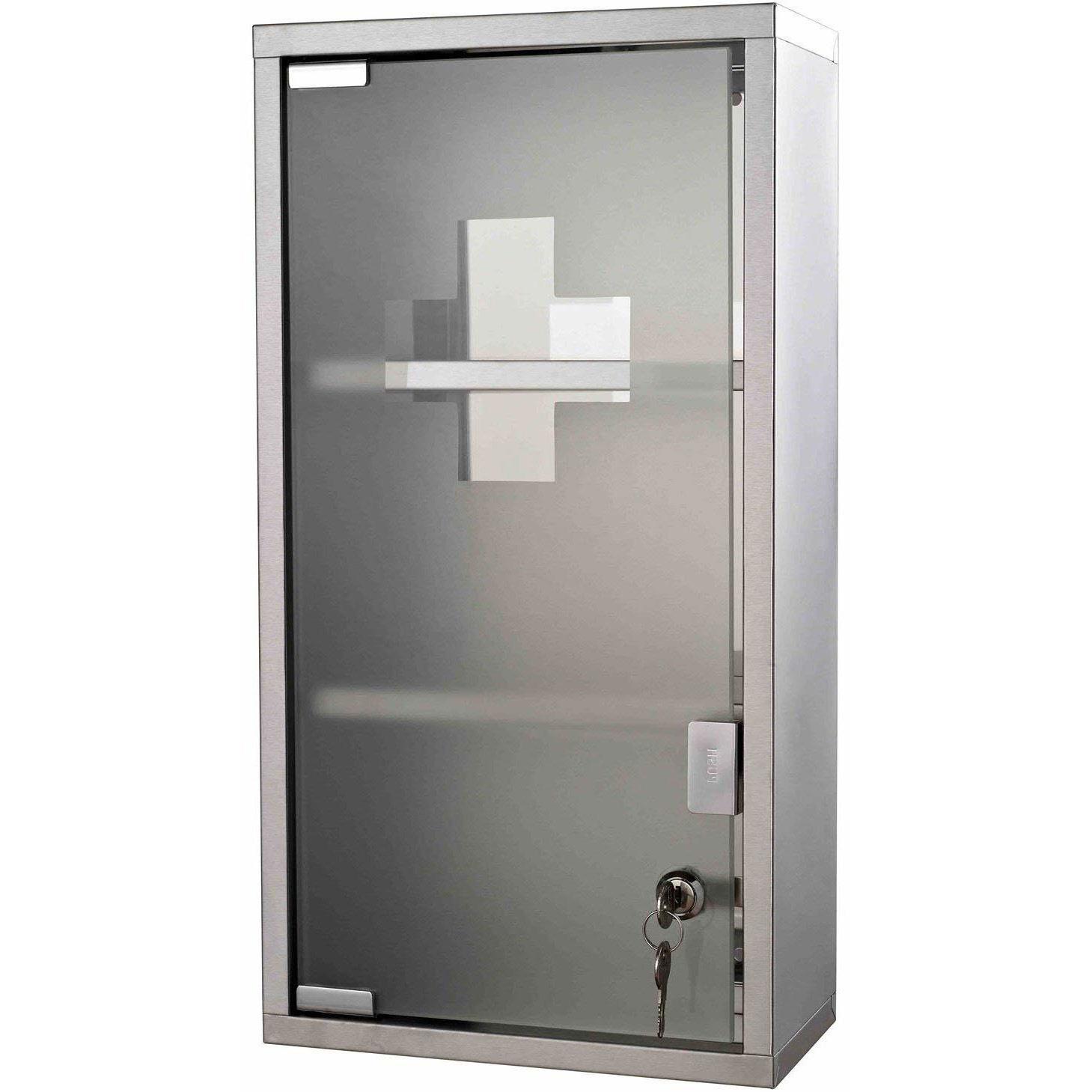 HOMCOM Medicijnkastje wandkastje roestvrij staal met 2 legplanken + glazen veiligheidsdeur afsluitbaar 48 cm