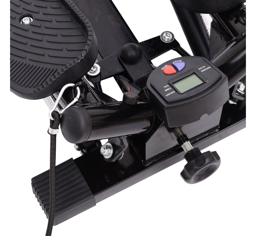 HOMCOM Mini fitness stepper voor hometraining incl. trainingsbanden