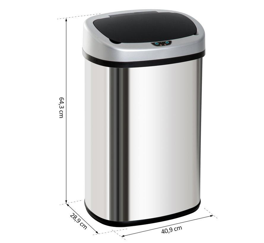 HOMCOM Automatische afvalbak met infraroodsensor 48L zilver